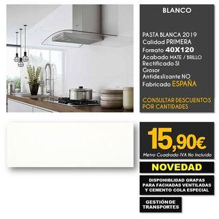 AZULEJO PARED BLANCO GRES 40X120 RECTIFICADO