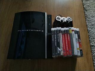 PS3 Fat + Mando + 10 juegos
