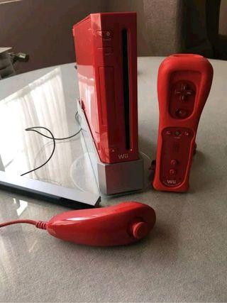 Nintendo wii roja con juegos ( juega por usb)