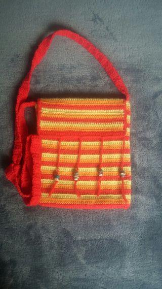 Bolso Bandolera de Crochet Tricolor hecha a mano