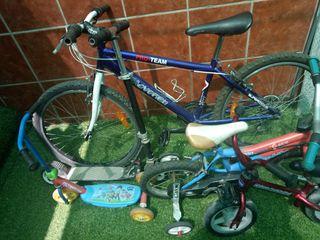 Lote de 3 bicicletas y 3 patinetes