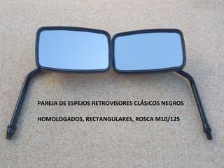 pareja espejos retrovisores clásicos negros