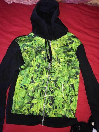Sudadera marihuana con cremallera