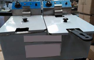 Freidora eléctrica de sobremesa 8l+8l doble cuba