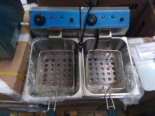 Freidora eléctrica de sobremesa 6l+6l doble cuba