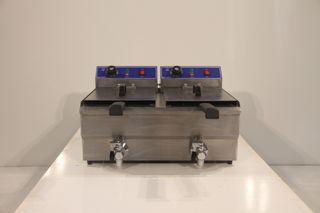 Freidora eléctrica de sobremesa 10l+10l con grifo