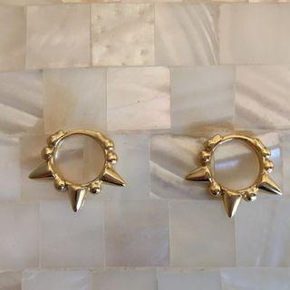 Pendientes aros pinchos plata chapado oro