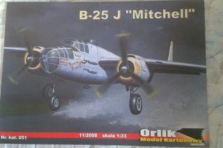 """Maqueta de cartón B-25 J """"MITCHEL"""" 1:33"""