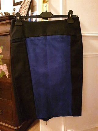 falda lápiz azul y negra, t38