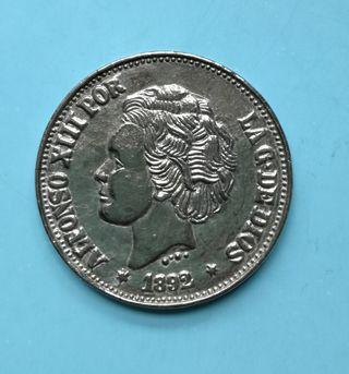 Moneda 1892 Alfonso XIII 5 pesetas
