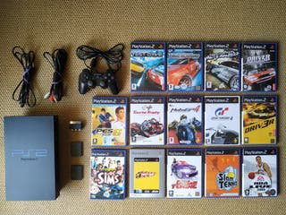 Playstation 2 + mando + memory card (x2) + juegos