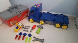 Camión de juguete con caja de herramientas