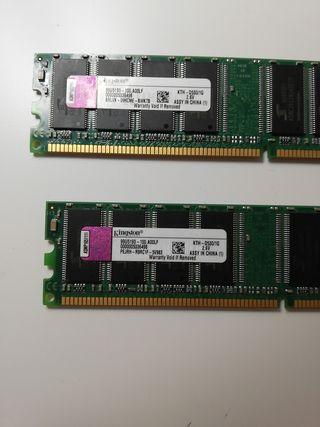2 tarjetas de memoria ram Kingston
