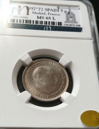 moneda de 5 ptas 1957 - 72 FDC
