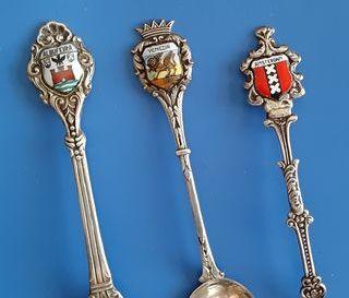 9 cucharillas de plata de ciudades Europeas