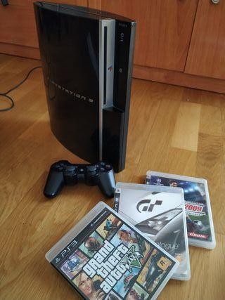 PS3 Play Station 3 con mando y 3 juegos