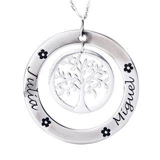 arbol de la vida de plata con hasta tres nombres
