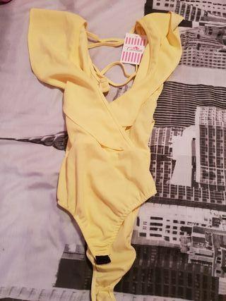 body amarillo talla unica