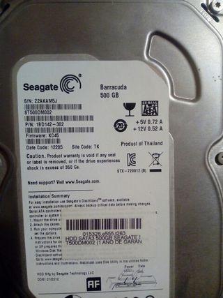 Disco Duro de 500GB Marca:Seagate