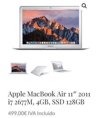 Apple MacBook Air 11 2011 i7 2677M, 4GB, SSD