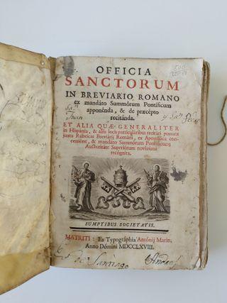 Libro Misal Breviario Romano 1768 en Latín