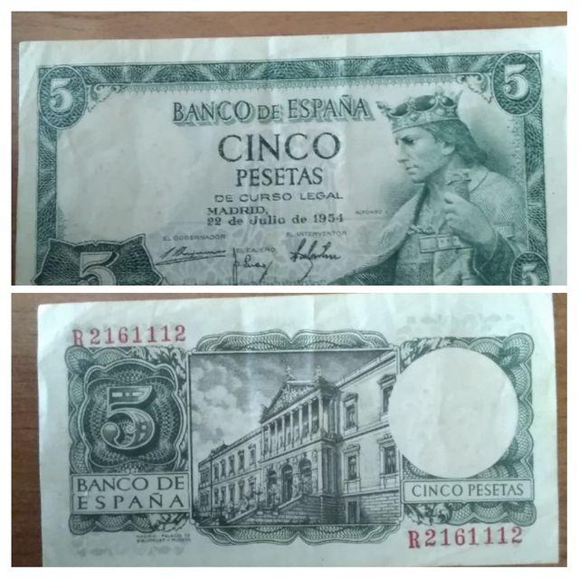 Billete 5 pesetas de 1954  BC de segunda mano por 2 € en