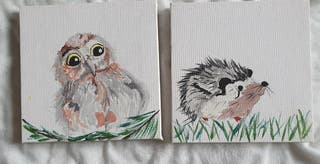 little owl and hedgehog painting