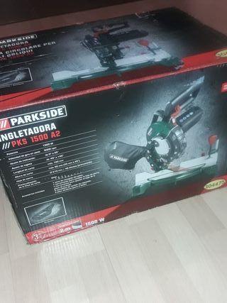 ingletadora Parkside con soporte y luz LED láser