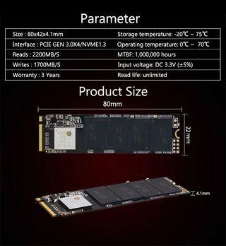 Disco duro solido M2 NVMe SSD 250Gb