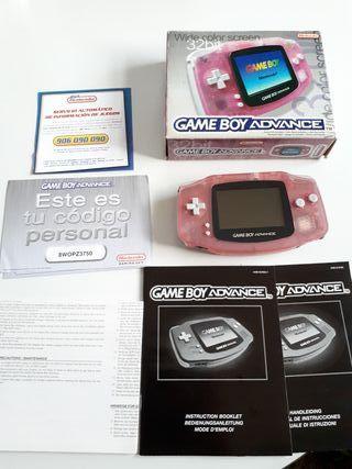 game boy advance rosa con caja