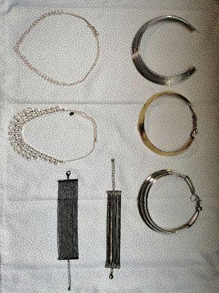 5 collares y 2 pulseras bisuteria