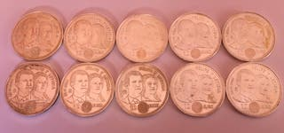Monedas 12 euro plata 10 unidades