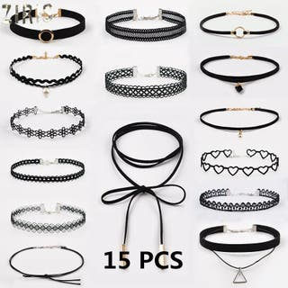 15pcs choker necklace black lace velvet for wom
