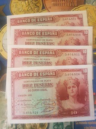 Billete 10 pesetas 1935 sin serie sc