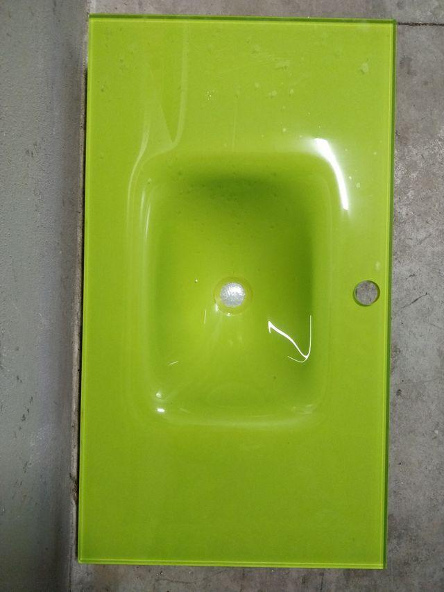 Lavabo Verde Pistacho.Lavabo Cristal Templado Color Verde Pistacho De Segunda