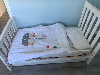 Cama cuna niño bebe transformable blanco lacado