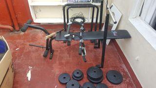 kit gym en casa press banca barras y pesas