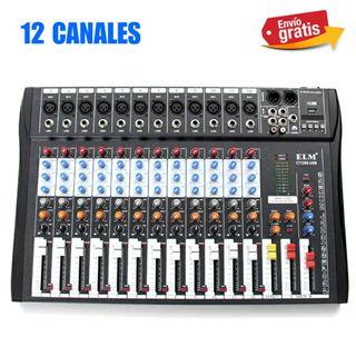 MESA DE 12 CANALES CON USB REPRODUCTOR NUEVO.