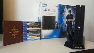 Consola PS4 1TB + 14 juegos + 2 mandos
