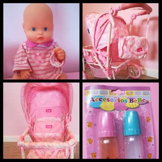 Pack carrito gemelar,muñeca Nenuco y biberones
