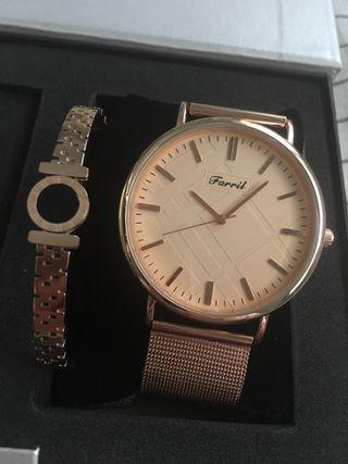 Reloj+pulsera acero rosado