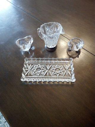 juego ceniceros y jarrita cristal-plata
