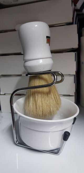 brocha de afeitar cuenco y soporte peluqueria