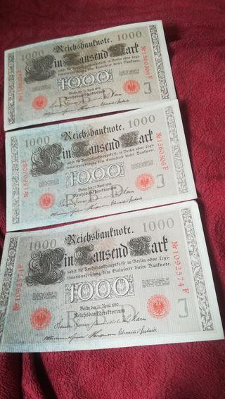 3 antiguos billetes de 1000 marcos