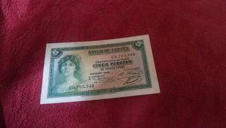 billete de 5 pesetas de 1935