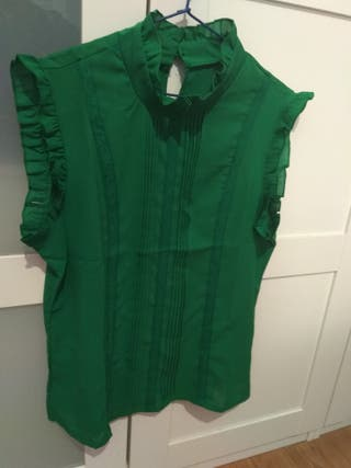 Blusa chiffon verde