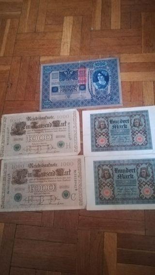 5 antiguos billetes alemanes