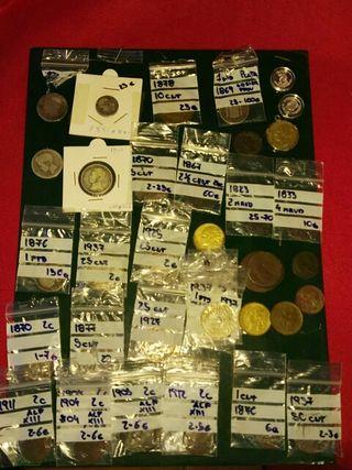 monedas plata, cobre, maravedies, pesetas...