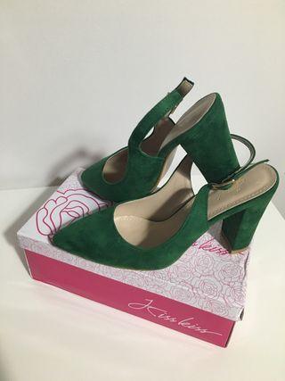 Zapatos tacón ancho verde 38