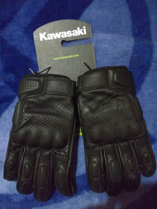 Guantes de cuero Kawasaki RS negros